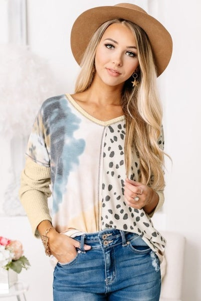 Put Together Tie Dye and Leopard Top with Waffle Knit Back - Sizes 4-12