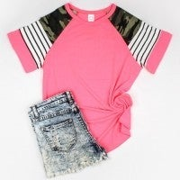 Let's Have an Adventure Neon Pink Top with Camo and Striped Accent Sleeve - Sizes 4-20