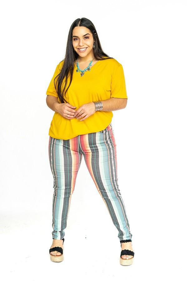 The Aspen Serape Miderise Skinny Jean - Sizes 14-22