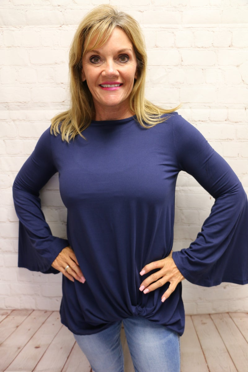 Simply Perfect Solid Top with Bell Sleeves and Knot in Multiple Colors - Sizes 4-20