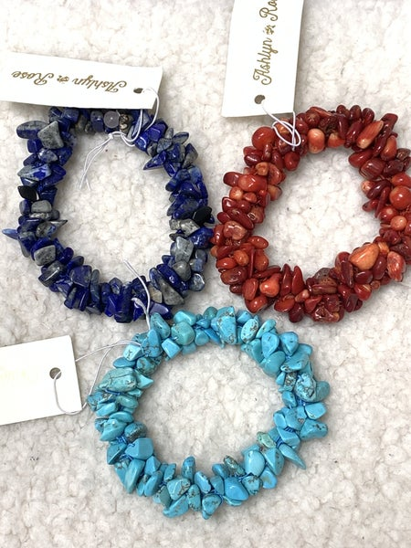 The Real Thing Chunky Stone Chip Stretch Bracelet In Multiple Colors