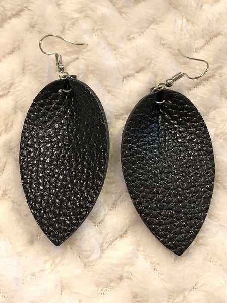 The Only One Black Leather Leaf Shape Earring