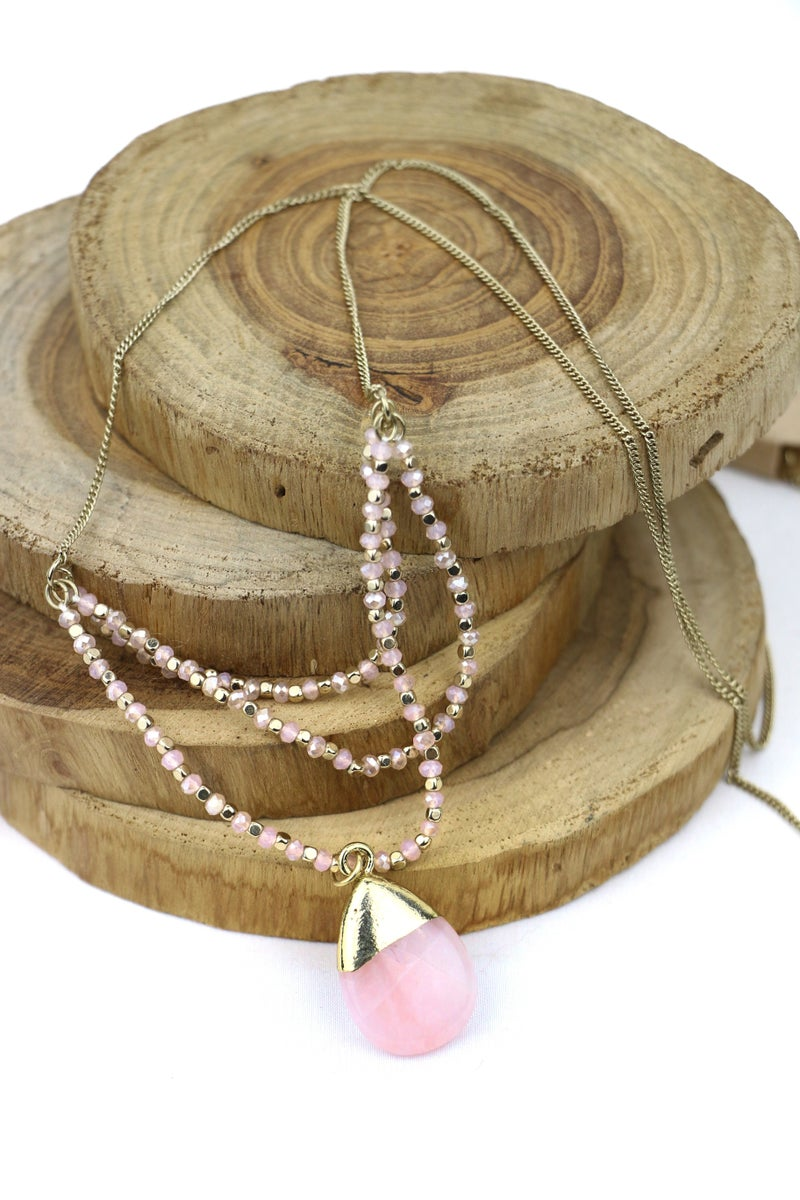 Someone Like You Long Necklace With 3 Strand Crystals And Pendant In Multiple Colors