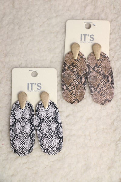 Heads Up Snakeskin Oblong Earring In Multiple Colors