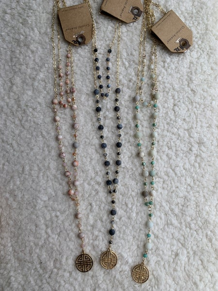 She's The One Double Strand Beaded Necklace With Gold Medallion In Multiple Colors