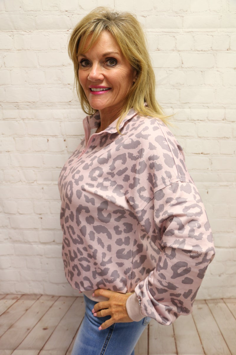 Pink Leopard Pullover with Zipper - Sizes 4-12