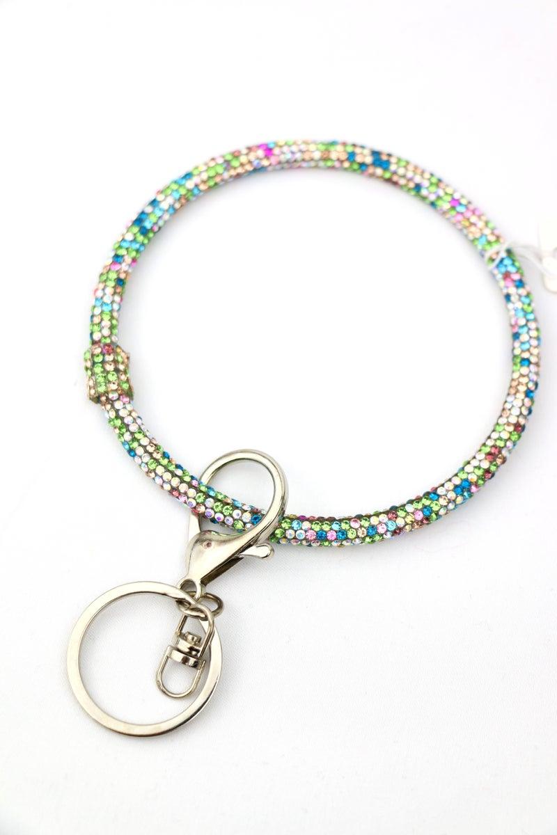 Rainbow Bright Pastel Crystal Beaded Keyring