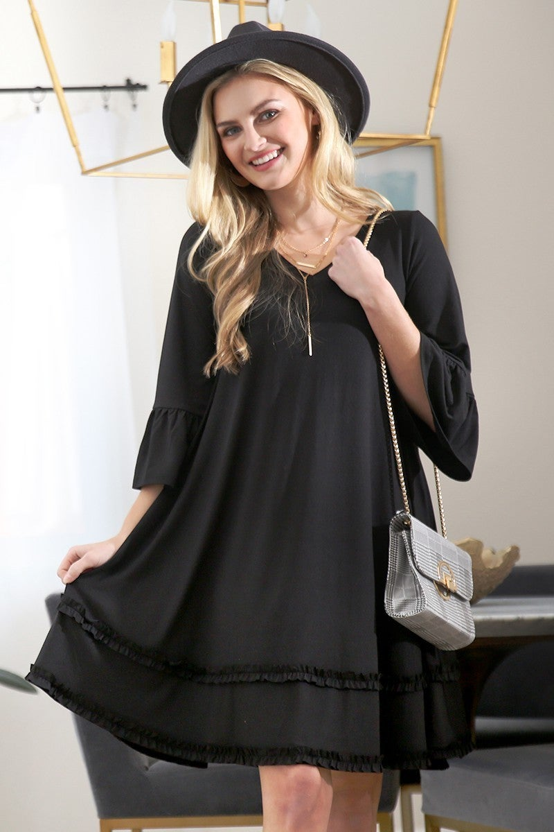 Beautiful Beginnings Black Three Quarter Ruffle Sleeve Dress - Sizes 12-20