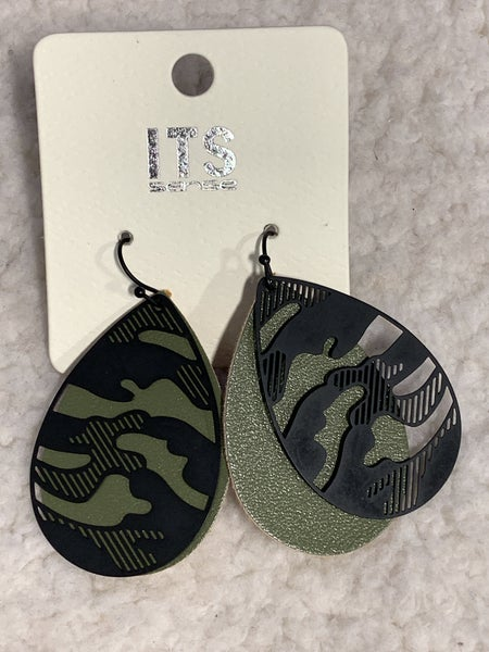 Hideout Double Layer Leather And Metal Cutout Camo Earring