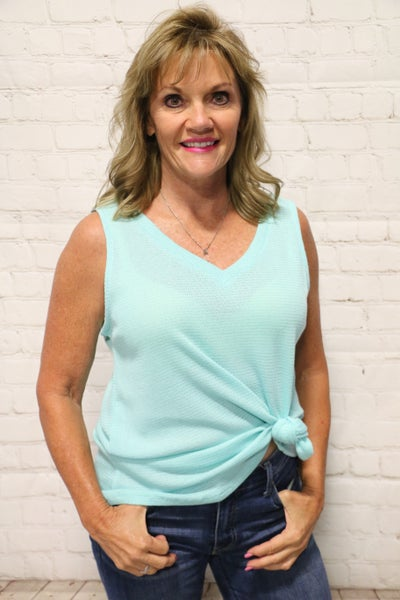 Who You Are Waffle V-Neck Sleeveless Top in Multiple Colors - Sizes 4-10
