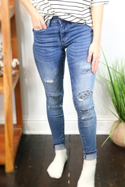 The Monica Medium Wash Skinny Jean with Denim Leopard Patches - Sizes 0-15
