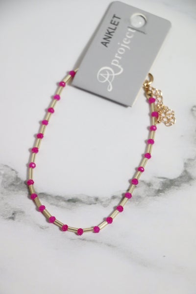 Out And About Hot Pink And Gold Ankle Bracelet