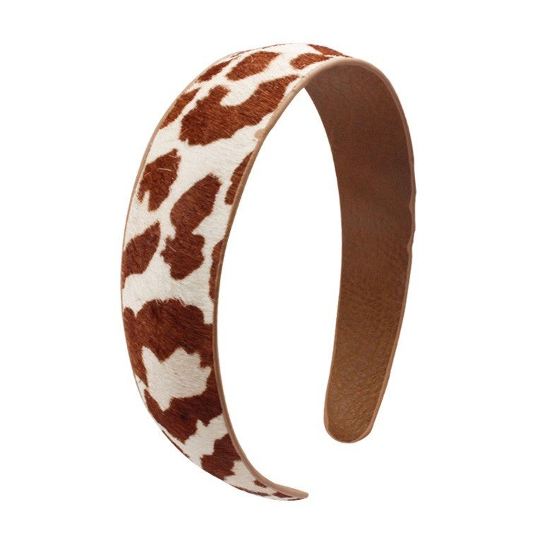 In The Wild Large Leather Animal Print Headbands In Multiple Prints