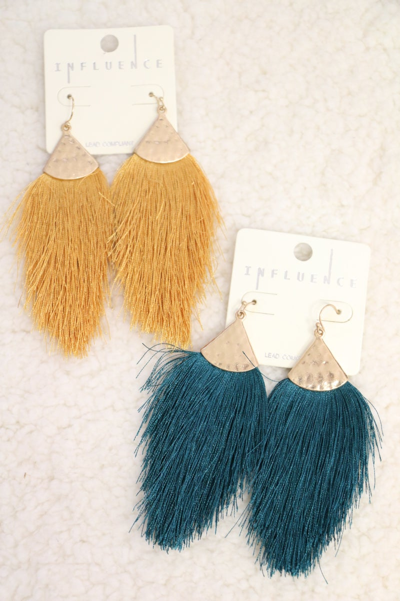 Here I Come Long Feathered Tassel Earring In Multiple Colors