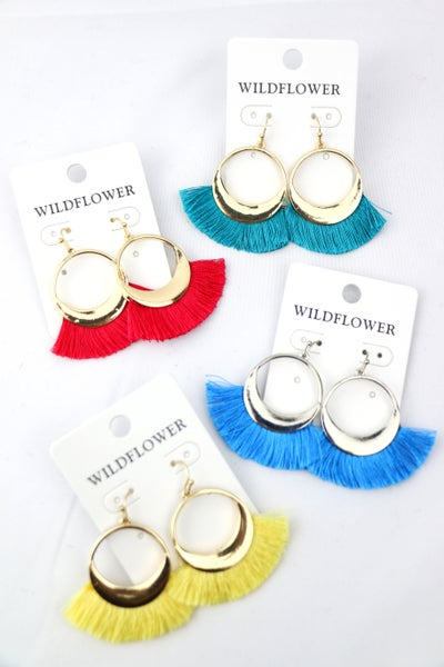 Circle Of Love Gold Hoop Earring With Fringe Tassel In Multiple Colors