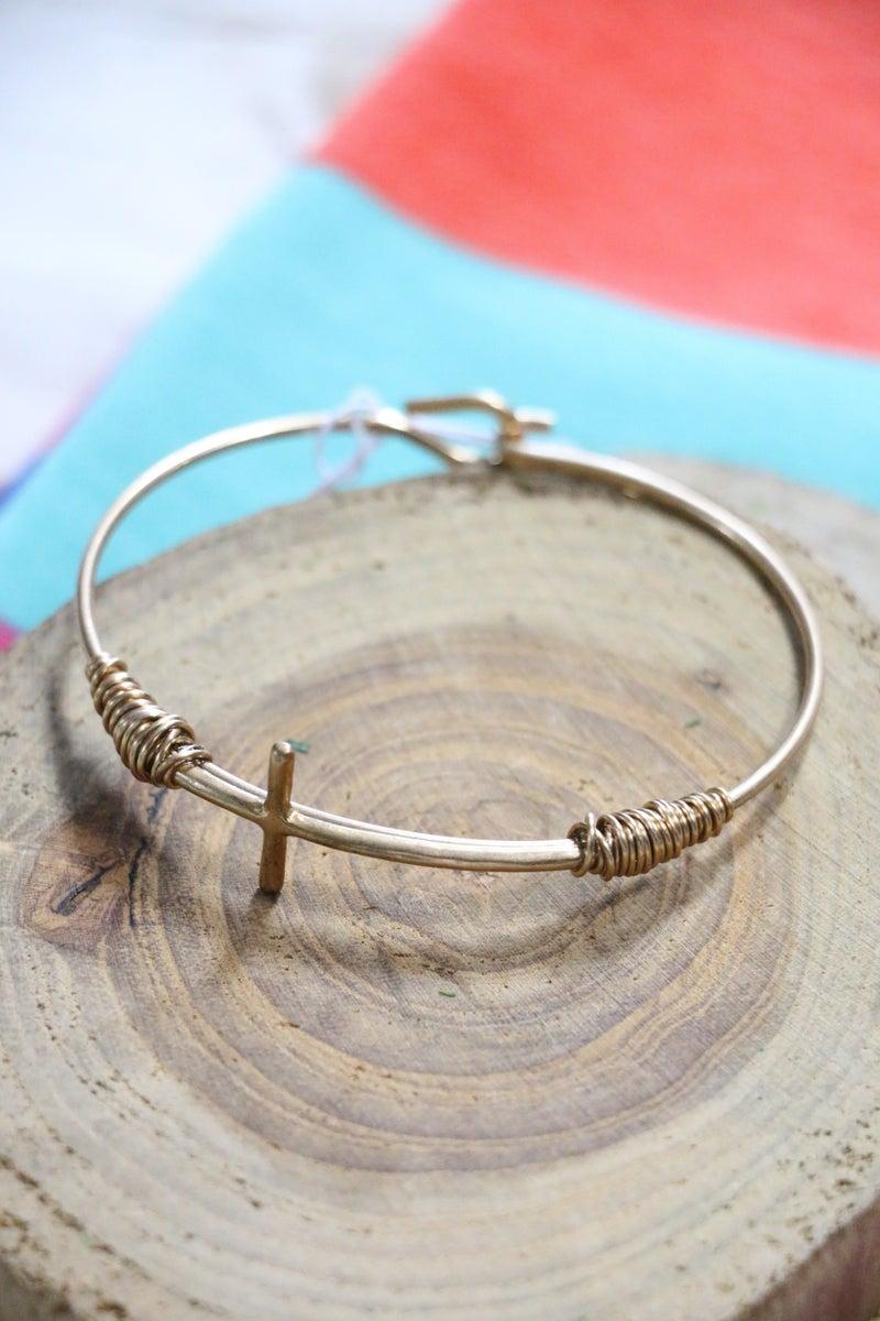Faithful Wire-Wrapped Sideways Cross Bracelet