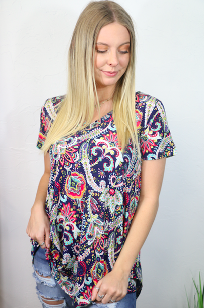 Effortlessly the Best Navy Paisley Short Sleeve Top - Sizes 4-20