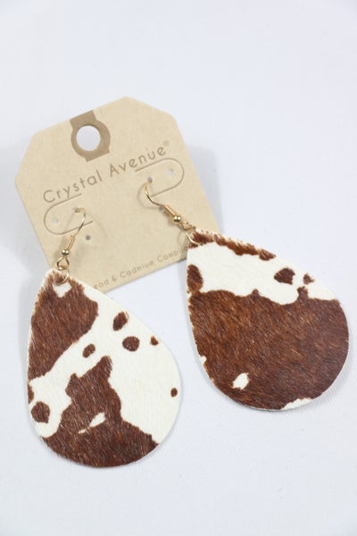 In The Pasture Brown And White Cow Print Teardrop Earring