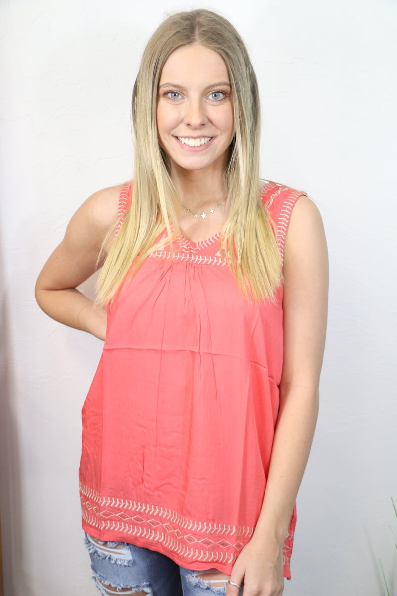 Stolen Heart Embroidered Tank Top in Multiple Colors - Sizes 4-12