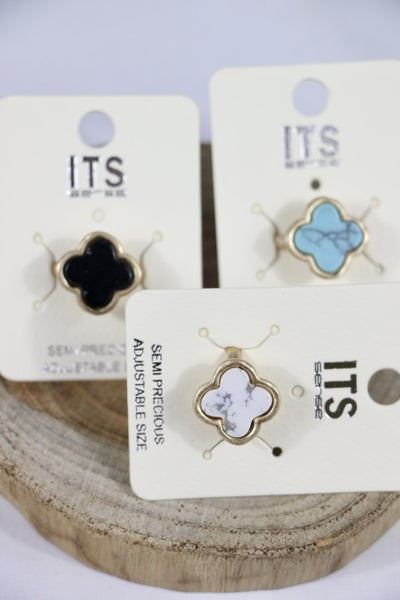 All The Time Stone Clover Adjustable Ring In Multiple Colors