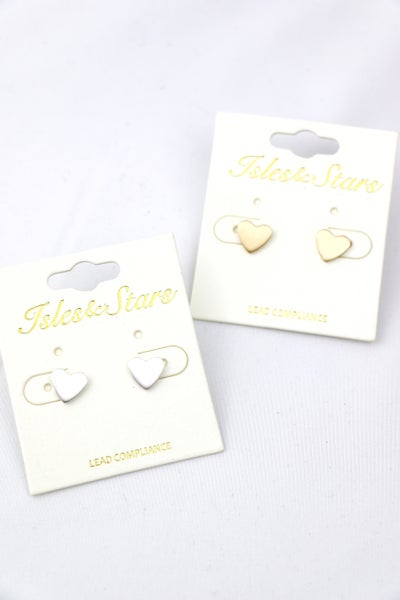 Be Still My Heart Metal Heart Stud Earrings In Multiple Colors