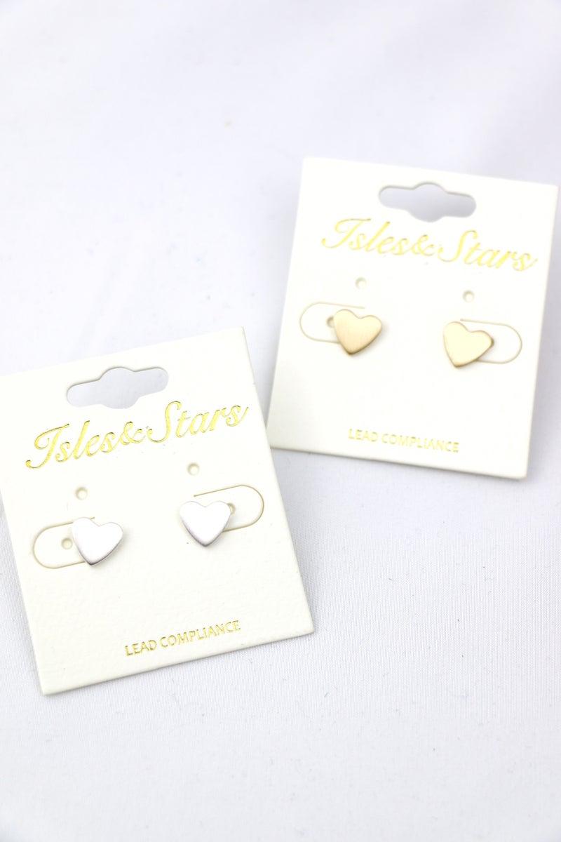 Be Still My Heart Metal Heart Stud Earrings In Multiple Colors
