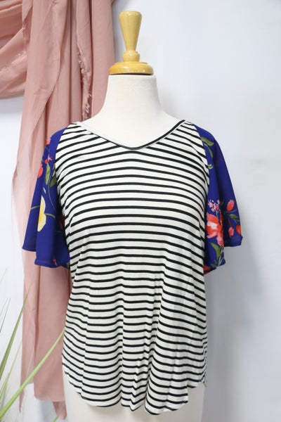 Follow Your Heart Black and White Striped Top with Floral Accent Sleeves - Sizes 4-20