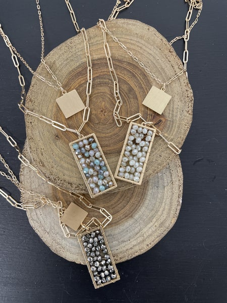 A Thousand Years Short Gold Necklace With Crystal Bead Rectangle Pendant In Multiple Colors