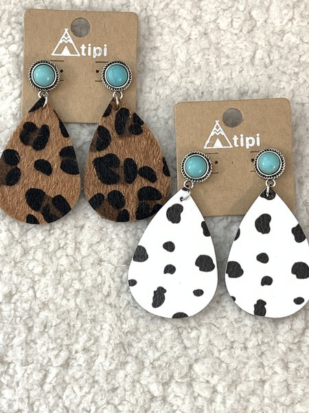 In The Moment Leather Teardrop Earring With Turquoise Stone In Multiple Colors