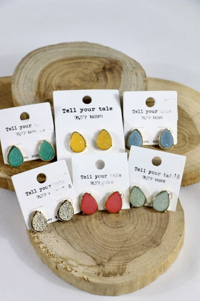 In The End Druzy Teardrop Stud Earring In Multiple Colors