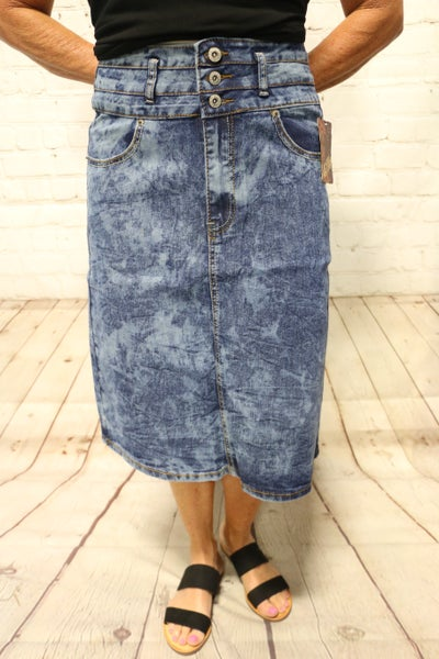 High Waist 3 Button Stone Washed Denim Skirt - Sizes 4-20