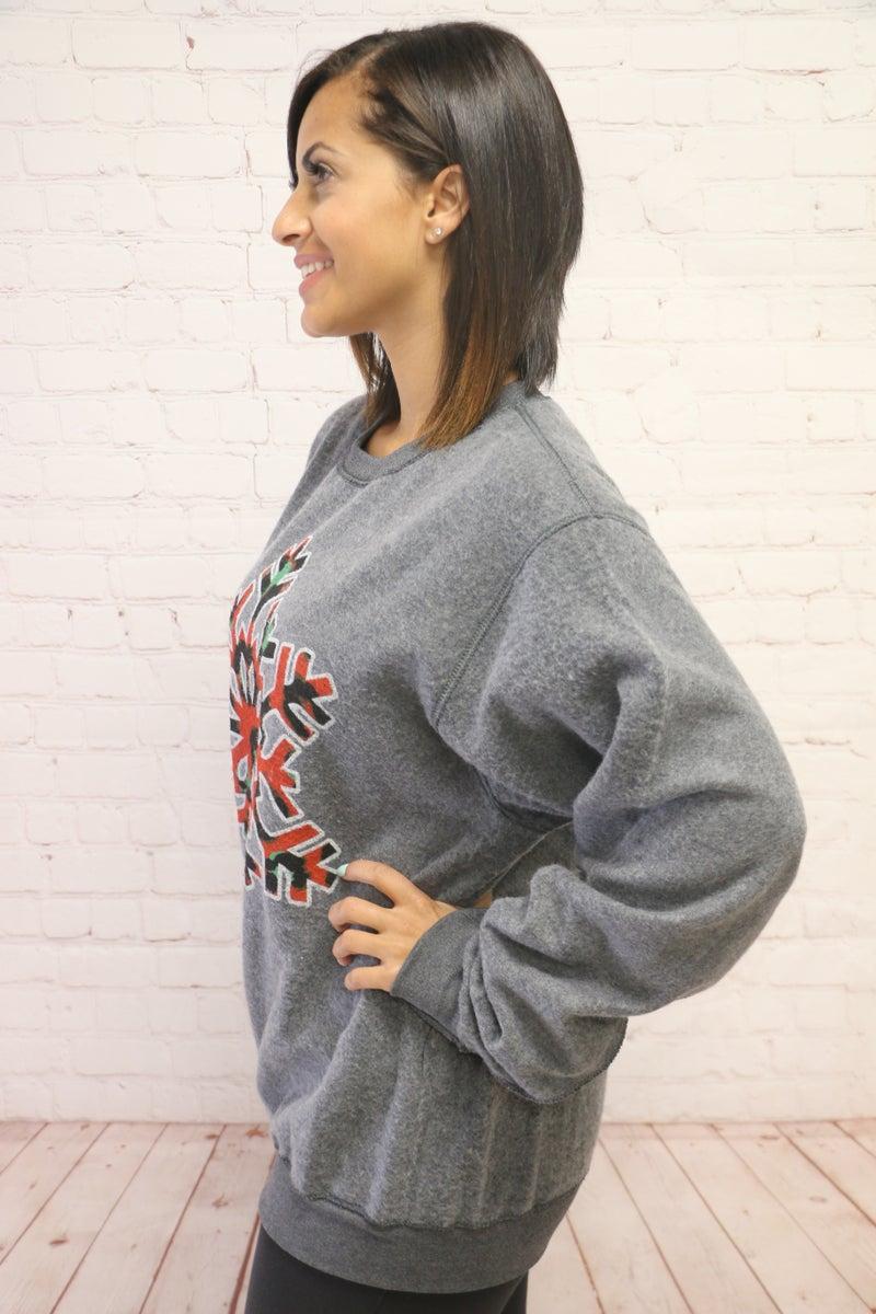 Snowflake Kisses Printed Red Leopard Graphic Sweatshirt - Sizes 4-20