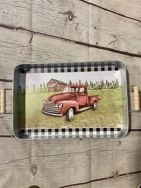 Rectangle Metal Serving Tray in Buffalo Plaid with Wood Handles