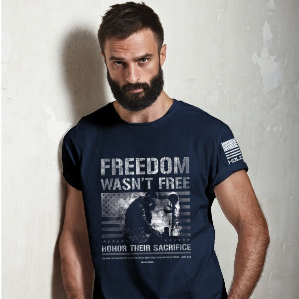 Freedom Wasn't Free Men's Graphic Tee in Navy - Sizes S-3X