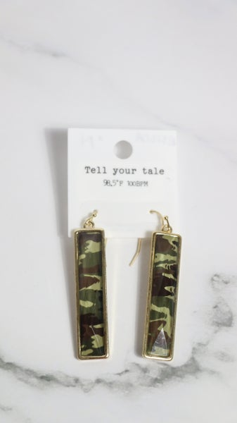 In The Open Rectangle Camo Earring