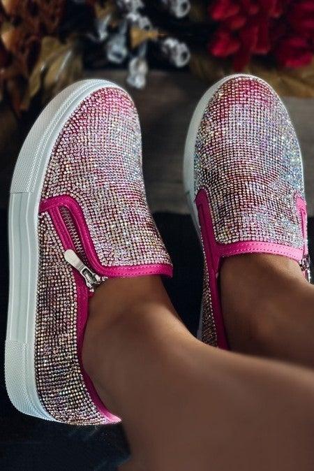 Shine Bright Hot Pink Jeweled Slip On Shoe - Sizes 6-10