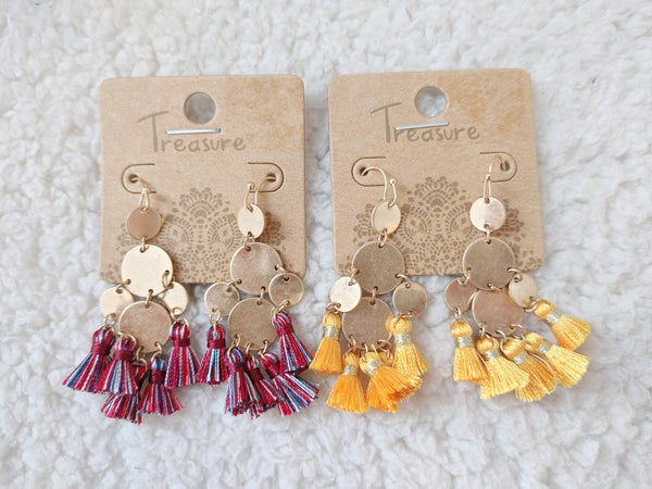 Quite A Treat Gold Discs and Mini Tassel Earrings In Multiple Colors