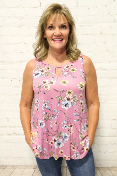 Time For Fun Mauve Floral Tank- Sizes 4-10