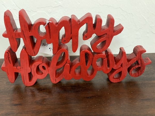 Happy Holidays Red Wood Script Tabletop Sign