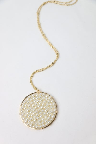 Good To Go Long Gold Necklace With Pearl Beaded Pendant