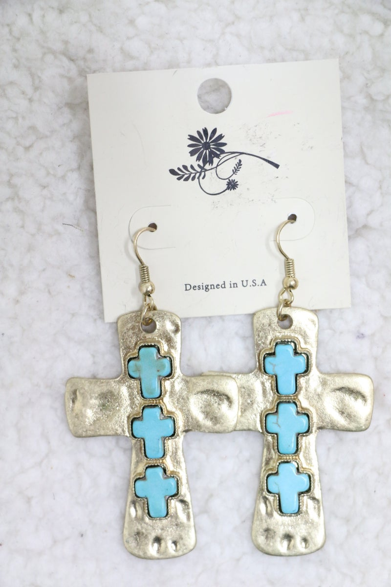 Everyday Gold Cross Earring With Turquoise Cross Detail
