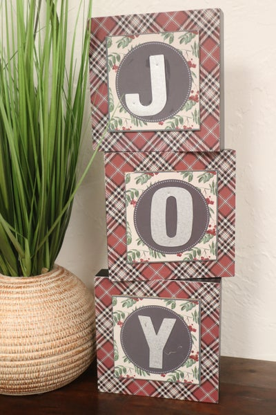 JOY 3 Piece Plaid And Holly Leaves With Metal Letter Decorative Block Set
