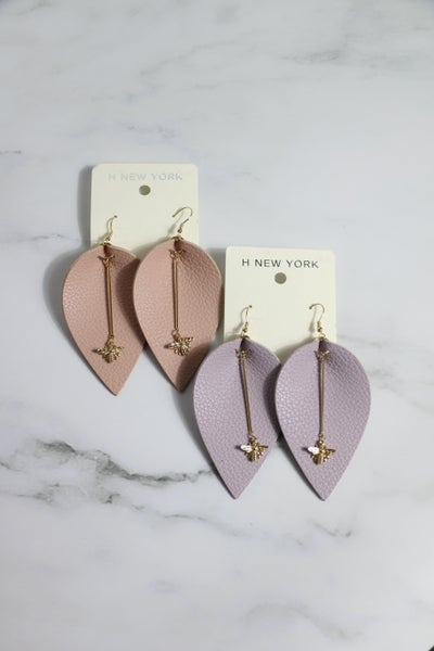 Thoughts Of You Large Leather Leaf Shape Earring With Gold Bar And Bee Detail