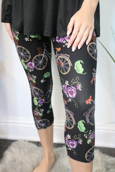 Flowers & Bicycles Capri Leggings - Sizes 4-20