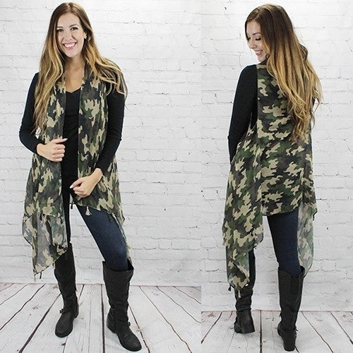 Go The Distance Camo Vest with Tassels - One Size Fits Most