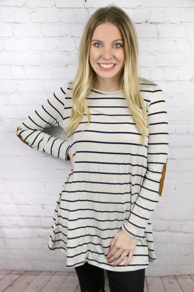 Taking Time Tan & Navy Striped Top With Suede Elbow Patch- Sizes 4-12