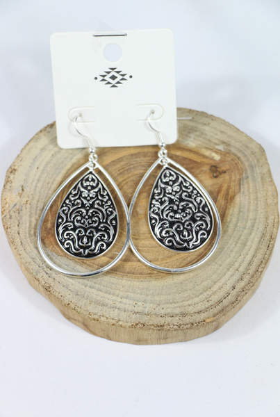 On The Town Double Silver Teardrop Earring With Filigree Center