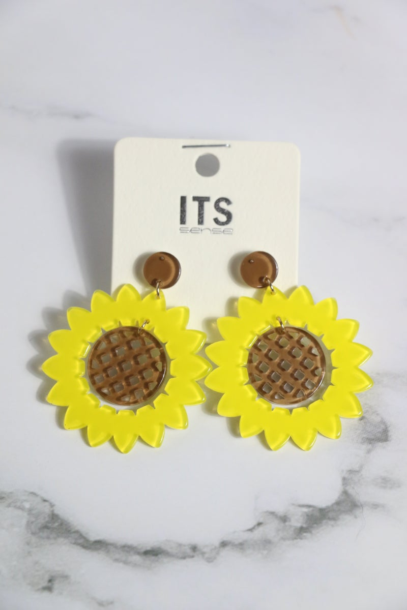 You Are My Sunshine Acetate Sunflower With Brown Grid Center Earring