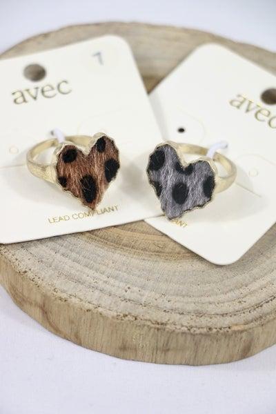 Feeling Fine Leopard Ponyhair  Wavy Edge Heart Ring In Multiple Colors - Size 7