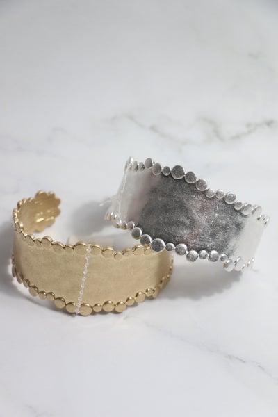 Southern Beauty Metal Beaded Edge Cuff Bracelet In Multiple Colors